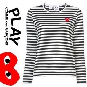 CDG Play • Striped T Shirt • NWT • Medium